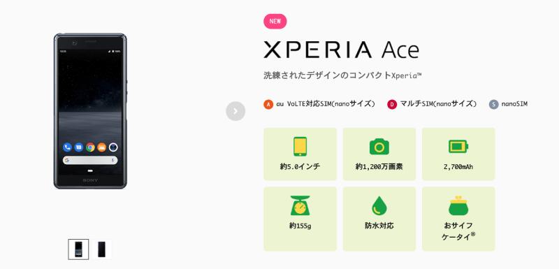 Xperia Ace(エクスペリアエース)の本体写真のメイン