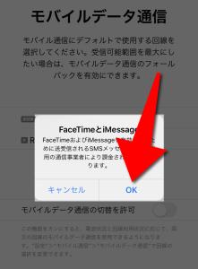 Rakuten UN-LIMIT(楽天アンリミット)のnonoSIMカードからeSIMカードに変更でFaceTimeなどの設定でOKを選択