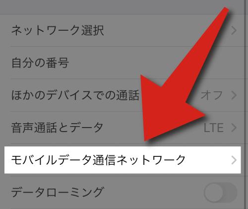 楽天モバイルのインストールで「モバイルデータ通信ネットワーク」を選択。